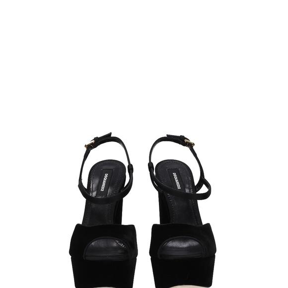 7908b5c3ac6 Dsquared2 Black Suede Platform Ziggy Sandals 10.5
